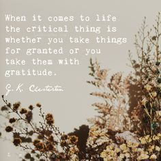 When it come to life the critical thing is whether you take things for granted or you take them with gratitude. G.K. Chesterton 🦋 #california #LeticiaRae #FindingTheSilverLining #FTSL #positivequotes #quotestoinspire #personaldevelopment #spiritualgrowth #love #hope #fallbrook #gkchesterton #gratitude #withgratitude Grateful For You, You Are Blessed, Gratitude Quotes, Positive Quotes, Gratitude Changes Everything, Gk Chesterton, Time To Move On, Live In The Present, Do Your Best