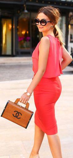 Chanel Brown Black Edges Printed Wood Handbag