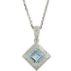 14k #Aquamarine and Diamond Pendant from Borsheims for $425
