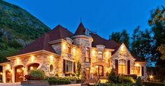 This amazing castle looking custom built house is located Mont Saint-Hilaire town in Quebec, Canada. It offers very detailed traditional and luxury interior design.