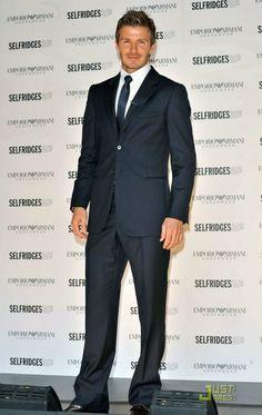 David Beckham - What a man! David Beckham Photos, Suits You Sir, Fashion Wear, Mens Fashion, Underwear, Classy Girl, Pinstripe Suit, Girl Guides, Love Blue