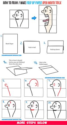 How to Draw a Big Opening Mouth Paper Folding Trick (Perfect for Cards) Easy Step by Step Drawing Tutorial & Craft for Kids - Karten basteln - Paper Folding For Kids, Paper Folding Crafts, Paper Crafts, Drawing Lessons, Art Lessons, Open Mouth Drawing, Diy For Kids, Crafts For Kids, Craft Kids