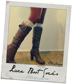 lace socks, boot socks, DIY leg warmers, how to make boot socks,