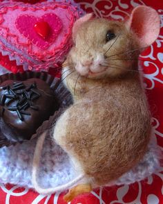 Needle Felted Art by Robin Joy Andreae: Toffee & Valentine, a Little Mouse and Piglet