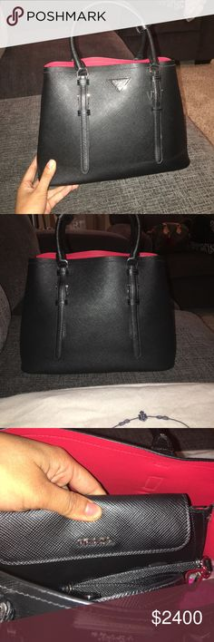 85204370f35d PRADA Saffiano Cuir black and red Black and red brand new without tags  never used!