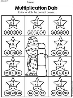 Multiplication Dab >> Children master the multiplication facts and become Math Wizards! Math Multiplication Worksheets, Math Addition Worksheets, 3rd Grade Math Worksheets, Third Grade Math, Preschool Math, Teaching Math, Math Games, Math Activities, Times Tables Worksheets