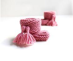 Patucos de punto de bebé – Pink Lady