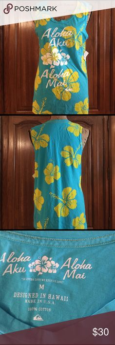 "NWT Aloha Aku Aloha Mai Tank Beautiful turquoise and yellow this tank will make you feel like you are on the Island. It is made in Hawaii made of 100% cotton and a siz medium. It measures approximately 18""flat underarm to underarm and measures approximately 27""long measured from shoulder to hem Aloha Aku Aloha Mai Tops Tank Tops"