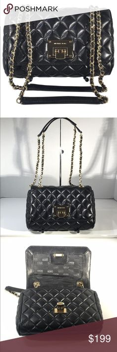 "Michael Michael Kors Vivianne Shoulder Bag Michael Michael Kors Vivianne shoulder bag with black leather and gold hardware. Strap drop 12.5 "" 1 interior zip pocket  1 exterior pocket lock closure 9.75""x6.5""x2.5"" Michael Kors Bags Shoulder Bags"