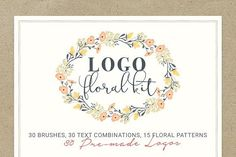 Logo Floral Kit by VladCristea on @creativemarket. With this Logo Floral Kit you can create stunning and original floral invites, greeting cards, menus, envelopes, business cards, t-shirts, bags, packages, phone cases, prints, textiles affiliate