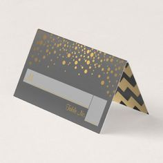 Gray and Gold Chevron and Confetti Dots Place Card - gold wedding gifts customize marriage diy unique golden