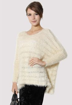 #Chicwish Sequins Shiny Loose Asymmetric Sweater in Ivory - Tops - Retro, Indie and Unique Fashion