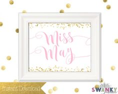 Miss May Printable Pink and Gold Prints by SwankyPrintables