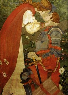 Phoebe Anna Traquair - St. George in Armour Being Kissed by Una (1914). Scottish Artist who illustrated for Elizabeth Barrett Browning's 'Sonnets of the Portuguese.'