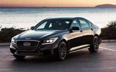 Herunterladen hintergrundbild genesis g80, 2017, 4k, luxus-autos, g80, schwarz, limousine, koreanische autos, die genesis