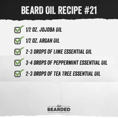 Beard Oil Recipe List You Can Make At Home and Counting) - Beard Tips Diy Beard Oil, Beard Oil And Balm, Best Beard Oil, Beard Balm, Homemade Beard Oil, Essential Oil For Men, Lime Essential Oil, Essential Oil Blends, Essential Oils