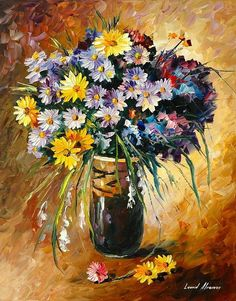 Margaritas - Palette Knife Oil Painting On Canvas Print By Leonid Afremov