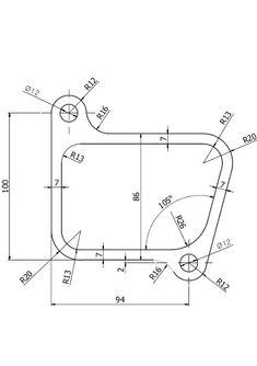 Ejercicios de Autocad 2D y 3D   Conceptos Básicos   Línea + Circunferencia + Recorte + Simetría + Copiar Autocad, 3d Drawings, Technical Drawings, Geometric Construction, Isometric Drawing, Loch Ness Monster, Drawing Practice, Wireframe, 3d Design