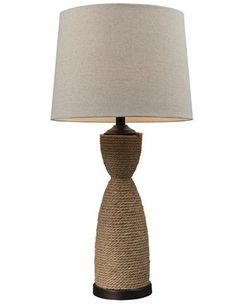 HGTV's Water's Edge Rope-Wrapped table lamp from ELK Group is covered with natural rope and features dark brown accents and a sandstone linen shade. www.elklighting.com