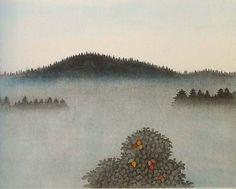 Väinö Rouvinen Sumumaisema - A Foggy Landscape Illustration Art, Illustrations, Paintings I Love, Color Combos, Fantasy, Colour, Landscape, Drawings, Photography