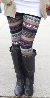 Purple Reindeer Knit Leggings $12.99!! -- I want these!!