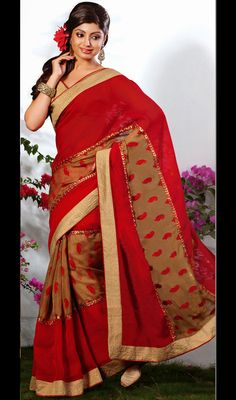 Maroon Georgette and Jute Saree Maroon faux georgette saree is adorned with jute silk patch in the center featuring paisley jacquard motifs. Contrasting border spruces the appearance of the attire. Comes with a matching stitched round neck blouse with 6 inches sleeves. #OnlineCheapSarees #LehengaStyleSarees