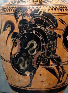 Ajax carries off the body of Achilles: Attic black-figure lekythos, ca. 510 BC, from Sicily (Staatliche Antikensammlungen, Munich) (The Iliad) Ancient Greek Art, Ancient Greece, Ancient History, Vase Transparent, Art Nouveau, Mycenaean, Minoan, Trojan War, Trojan Horse