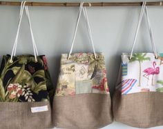 Items similar to Summer Beach Bag Tote - Palm Print - Coconut Grove Print - Flamingo Print - Lined Sandy Beach Bag on Etsy Large Beach Bags, Beach Tote Bags, Rice Bags, Coconut Grove, Flamingo Print, Laid Back Style, Unique Bags, Outdoor Fabric, Burlap