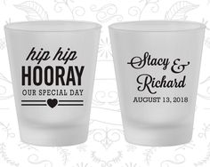 Hip Hip Hooray Wedding, Printed Frosted Glassware, Our Special Day, Heart, Frosted Shot Glasses (36)