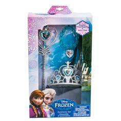 Frozen prinsessen set 3-delig. Deze 3-delige Frozen prinsessen set voor kinderen bestaat uit een kroontje, toverstaf en armband.