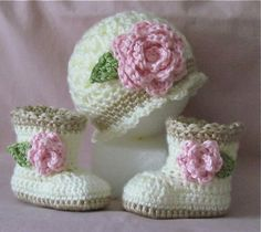Crochet Baby Booties and Hat for Baby Girl - Sugar and Spice Booties with Matching Beanie.