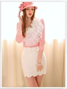 Morpheus Boutique  - Pink White Lace Knit Long Sleeve Sweater, CA$71.78 (http://www.morpheusboutique.com/new-arrivals/pink-white-lace-knit-long-sleeve-sweater/)