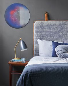 THE M Headboard BY THORNAM. Fabric and leather
