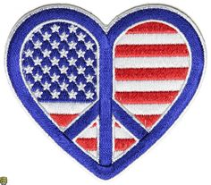 American Flag Peace Heart Patch | Embroidered Biker Vest Patches, US Flag Patches