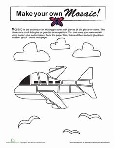 Third Grade Paper Projects Coloring Worksheets: Make a Mosaic: Airplane