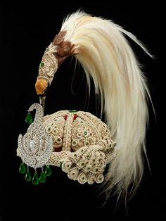Jeweled Crown with bird of paradise plumes; ca. 1900, Nepal. #GoldJewelleryBirdOfParadise