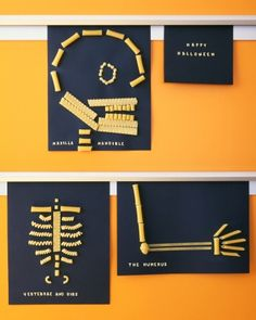 Pasta Skeletons  With an illustration of a skeleton as a guide, kids just need lots of dried pasta, white glue, and construction paper to assemble the pictures. We snapped some of the pasta in half and used alphabet-soup noodles to make labels.