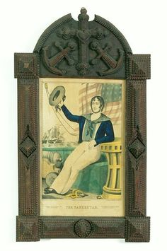 Elaborate chip-carved frame with cross, heart, and anchor motifs ~ and a handsome sailor lad