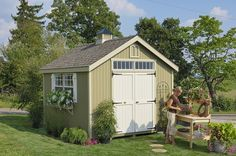 Williamsburg Colonial Wooden Outdoor Garden Shed Kit - 10 x 12 - 10x12 WCGS-WPNK