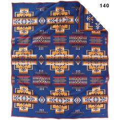 "The Chief Joseph blanket is the oldest, on-going blanket produced by Pendleton Woolen Mills. Its design is balanced with arrowheads symbolizing bravery and pointing in all directions of Mother Earth. Designed early in the 1920's, it continues to be one of Pendleton's most popular designs. This blanket commemorates the greatest Nez Perce warrior, Chief Joseph. FULL SIZE: 64"" x 80"". http://www.crazycrow.com/pendleton-blankets-twin-and-full-size/pendleton-chief-joseph-blanket"