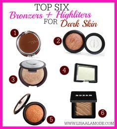 Top Bronzers and Highlighters for Dark Skin #woc #makeup #bronzers #darkskin black women makeuo