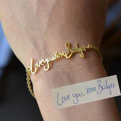 Handwriting/Signature Bracelet - Sterling Silver - Any Language, Any Character is Possible by bigEjewelry on Etsy https://www.etsy.com/listing/191407157/handwritingsignature-bracelet-sterling