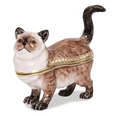 Himalayan Cat Enameled Trinket Box