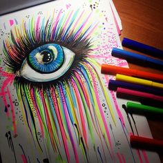 cool drawings marker eye rainbow drawing crayon draw eyes sharpie bing sharpies easy markers realistic awesome painting