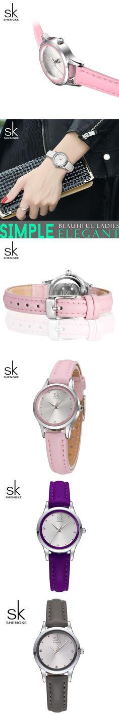 2017 Shengke Brand Fashion Women Leather Wrist Watches Ladies Casual Analog Silver Case Quartz Watch Relogio Feminino SK watch
