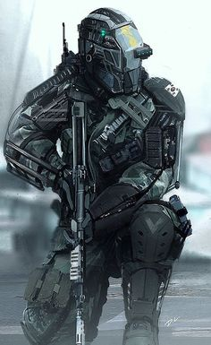 Love this soldier cyberpunk really up my street. Robot Concept Art, Armor Concept, Concept Cars, Armadura Sci Fi, Science Fiction, Science Experiments, Tactical Armor, Tactical Suit, Arte Cyberpunk