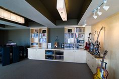 Basement Music Collection Room