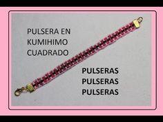 Pulsera en kumihimo cuadrado en colores - YouTube