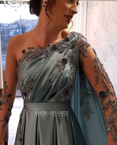 Sexy Evening Dress, Cheap Evening Dresses, Designer Evening Dresses, Formal Dresses With Sleeves, Wedding Dress Sleeves, Mint Dress, Dress Up, Velvet Dress Designs, Lace Gown Styles