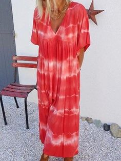 Maxi Dress With Sleeves, Tie Dress, Half Sleeves, Maxi Dresses, Fashion Models, Women's Fashion, Dresser, Casual Summer Dresses, Dress Casual